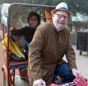 Tour escorts Prof. Nathan Katz and Ellen Goldberg en route to the Taj Mahal, Agra.